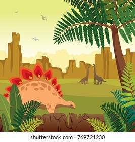 Brontosaurus and green fern. Prehistoric landscape with silhouette of dinos (pterodactyl and diplodocus), mountains, green fern and yellow sky. Vector illustration with extinct animals - dinosaurs.