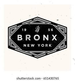 Bronx New York Apparel LAbel Design, Vector Illustration in Vintage Style 1920s