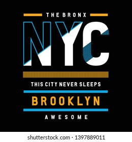 the bronx ny city cool awesome typography tee design vector illustration,element vintage artistic apparel product - Vector
