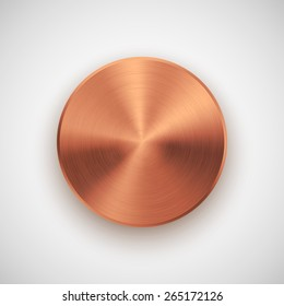 Bronze abstract technology circle badge, blank button template with metal texture (chrome, silver, steel), realistic shadow and light background for user interfaces, UI, applications and apps. Vector.