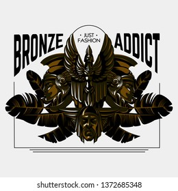 Bronze addict. Vector hand drawn illustration of sculpture made in art deco style isolated. Template for card, poster. banner, print for t-shirt, pin, badge, patch.