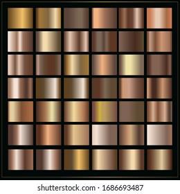 Bronze big collection of gradients, simple metal elements