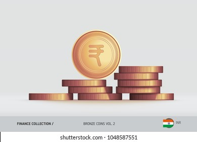 Bronze coins. Realistic Indian Rupee coin standing on stacked coins. Finance concept for websites, web design, mobile app, infographics.
