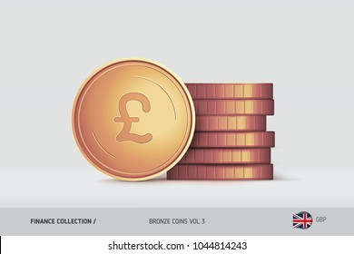 Bronze coins. Realistic Pound Sterling coin standing near of stacked coins. Finance concept for websites, web design, mobile app, infographics.