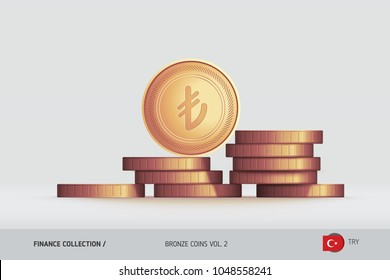 Bronze coins. Realistic Turkish Lira coin standing on stacked coins. Finance concept for websites, web design, mobile app, infographics.