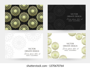 Bronze floral motif. Horizontal banners with decoration elements on the black and white background. Vector illustration for event invitation, ceremony card or celebration banner.