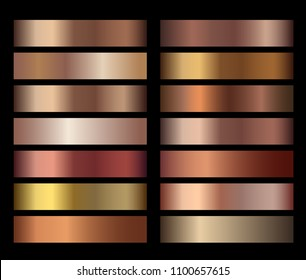 Bronze foil texture gradients templates set. Collection of beige gradient illustration gradation for backgrounds, cover, frame, ribbon, banner, coin, label, flyer card poster. Vector template design