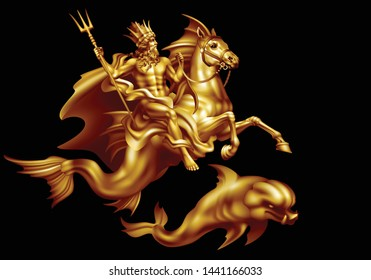Bronze god of the seas Poseidon riding a hippocampus and a dolphin on a black background