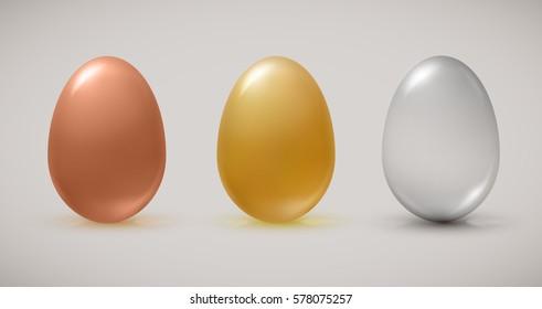Bronze, gold, transparent eggs. Vector illustration.
