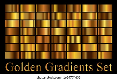 Bronze, golden metal gradients collection. big set of rich modern background