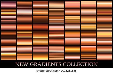 Bronze gradient set background vector icon texture metallic illustration