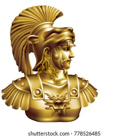 Bronze head of an ancient hero on a white background