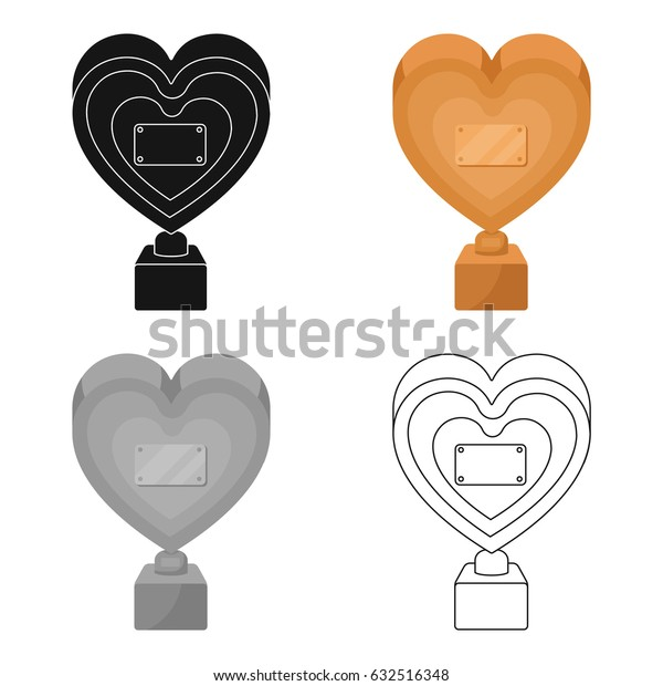 Bronze heart in the form of awards.The audience award for best film. Movie awards single icon in cartoon style vector symbol stock illustration.