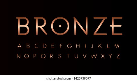 Bronze letters set. Thin lines unusual style vector latin alphabet. Font for events, promotions, logos, banner, monogram and poster. Typography design.