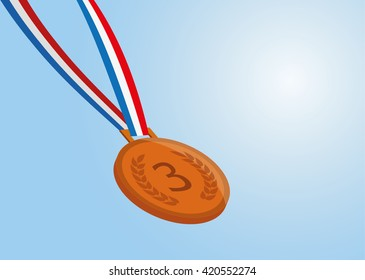 bronze medal with ribbon on blue background. vector eps 10