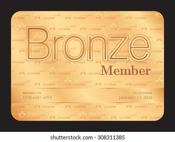 Bronze member club card with small stars pattern