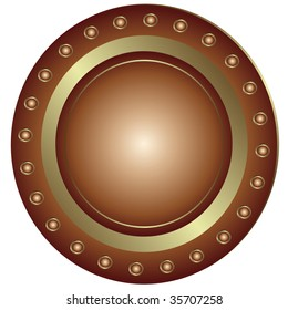 Bronze plate with rivet on white background (vector)
