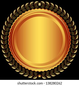 Bronze round frame with leaves and stars on black (vector)