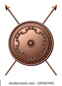 Bronze shield and crossed spears. Vector illustration