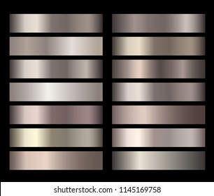 Bronze, silver, gold, chrome metal foil texture gradients templates set. Collection of metalllic gradient illustration gradation for backgrounds, cover, frame, banner. Vector template design