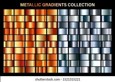 Bronze and silver gradient. Glossy metal foil texture. Color swatch set. Collection of high quality gradients. Shiny metallic background. Design element. Vector illustration.