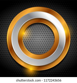 Bronze and silver rings on dark metallic perforated background. Vector technology design