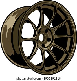 Bronze wheel car rim vector illustration