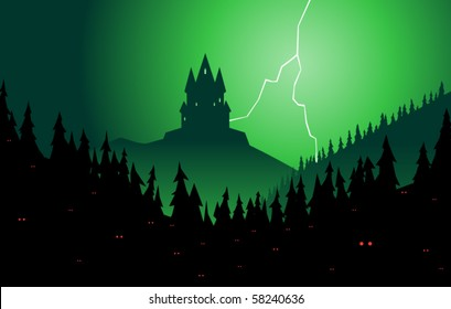 Brooding castle rising from a sinister forest