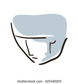brooding man face in vintage simple line design vector illustration