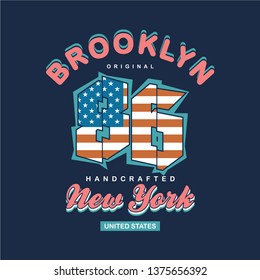 brooklyn with american flage graphic design typography t shirt vector illustration and other use