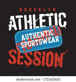 brooklyn athletic session, original design typography, t-shirt graphics, vectors illustration