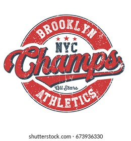 Brooklyn Athletics Champs Vintage T-Shirt Design