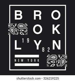 Brooklyn bandana typography, t-shirt graphics, vectors