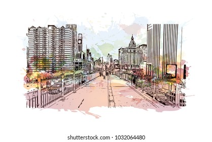 The Brooklyn Bridge is a hybrid cable-stayed bridge in New York City and is one of the oldest roadway bridges in the United States. Watercolor splash with Hand drawn sketch illustration in vector.
