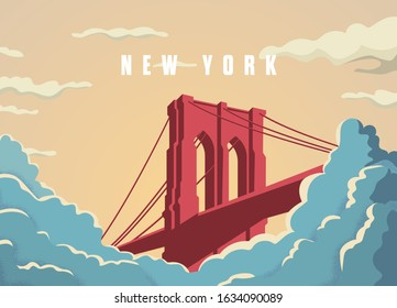 Brooklyn bridge in New York in USA postcard vector template. Bridge in sunset with clouds or fog below. Vintage colors. Famous tourist landmark. Eps10 illustration.
