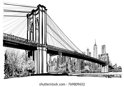 Brooklyn bridge in New York - vector illustration
