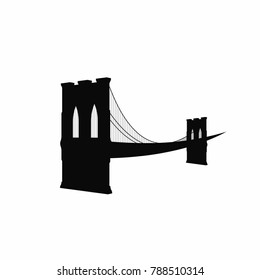 Brooklyn Bridge silhouette. Black Brooklyn Bridge icon isolated on white background. New York symbol. Vector