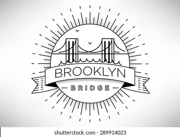 Brooklyn Bridge Vector Icon Design