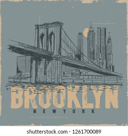 Brooklyn city. İllustration drawing city graphic. Tee graphic design