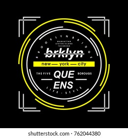 brooklyn city vintage typography tee design, vector illustration t shirt graphic artistic element