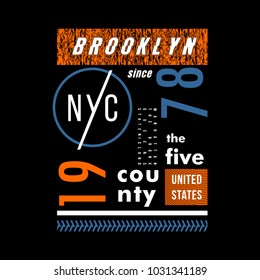 Brooklyn cool awesome typography tee design vector illustration,element vintage artistic apparel product