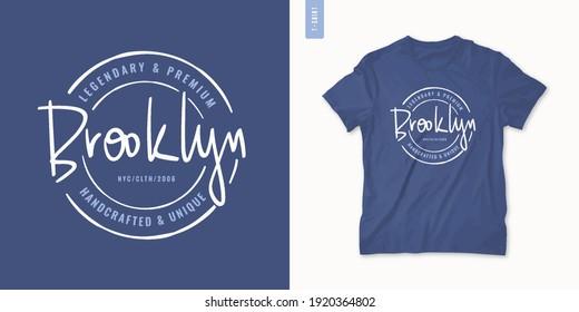 Brooklyn letter graphic mens t-shirt design, print, vector illustration.