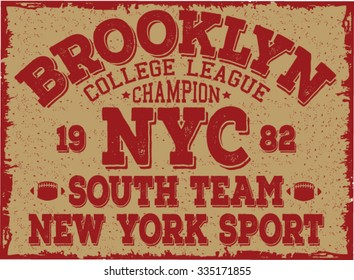 brooklyn - new york city college sport typography, t-shirt graphics, vectors