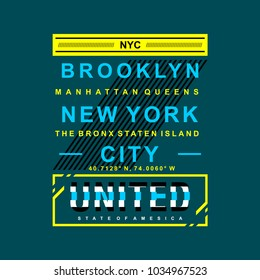 brooklyn new york city typographic t shirt design, vector illustration artistic element letters