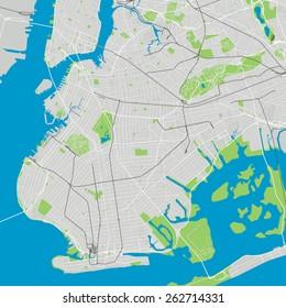 Brooklyn New York detailed vector map editable