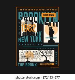 brooklyn, new york graphic typography t shirt print vector illustration design