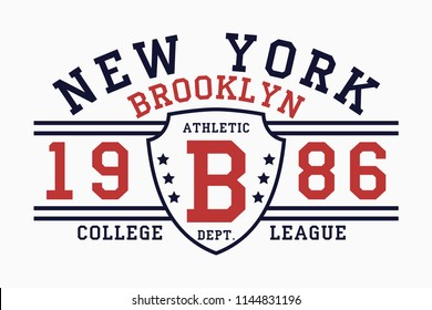 Brooklyn, New York slogan typography graphics for t-shirt. College print for apparel. Vector illustration.