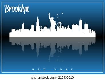 Brooklyn, New York, USA skyline silhouette vector design on parliament blue background.