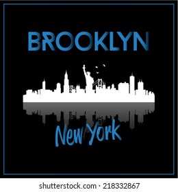 Brooklyn, New York, USA skyline silhouette vector design on black background.