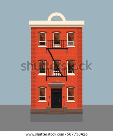 Brooklyn Red Brick Apartment Building. Flat Vector Illustration.